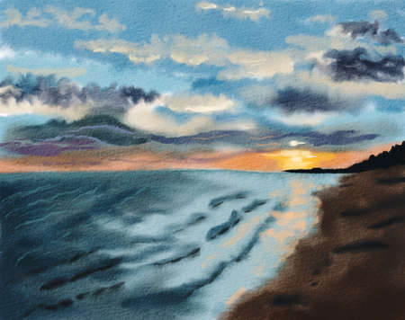 Colorful sunset at the sea coast Imagens