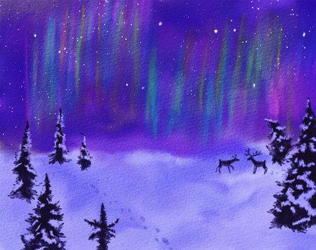 Winter landscape with aurora borealis