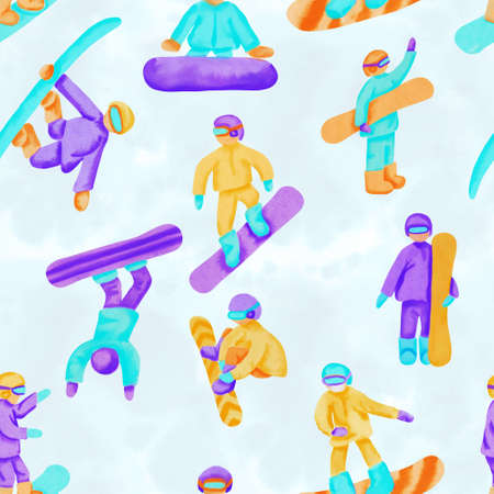 Seamless pattern with snowboarders. Imagens