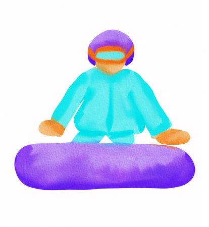 Watercolor cartoon snowboarder