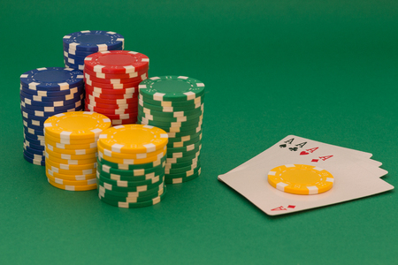 king and queen of hearts: Poker cards and chips Stock Photo