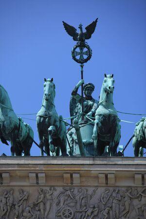 quadriga: Quadriga on the Brandenburger Gate in Berlin Editorial