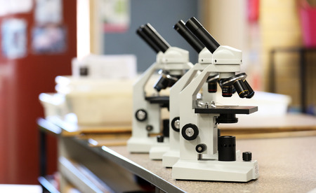Science style electronic microscope used in research laboratory or pathology lab Banco de Imagens