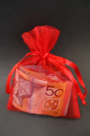 A pretty little red gift bag isolated with silk ribbons filled with cash money. 50 dollar note visible and wads of other colored notes. Banco de Imagens