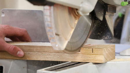 Hand holding a raw piece of timber being sawn by a fast cutting circular saw blade. Saw dust flying out. Industrial workplace manual vocation skills concept.