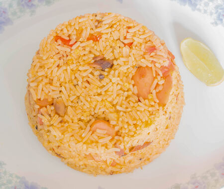 Close up Fried rice with tinned fish ,Thai cuisine photo