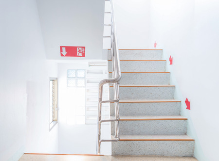 stairwell fire escape in a modern building.