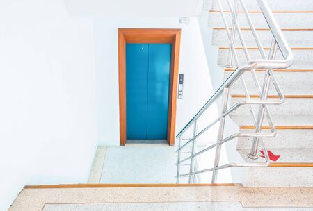 stairwell: stairwell in a modern building  with elevators