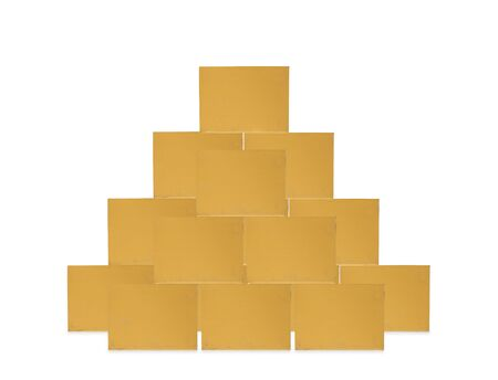 shipped: Stacks of cardboard boxes  on white background Stock Photo