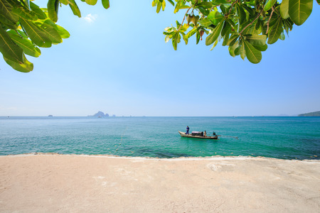 Fishermen are fishing in sea, in summer, in Thailand. (Not identifiable). Stock Photo