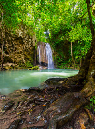Waterfall erawan in nature, Waterfall Wild beauty is completely natural.