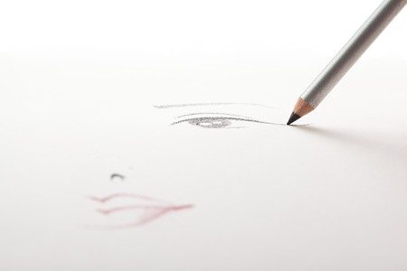 a make-up sketch, drawn on white paper, with a black eye liner pencil drawing the eye and the mouth in a blur.