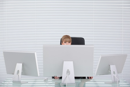 Attractive blond business woman in her clean office Stock Photo - 8259356