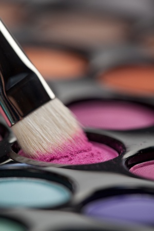 a close-up image of a eye-shadow set, with a professional makeup brush picking up some pink colour photo