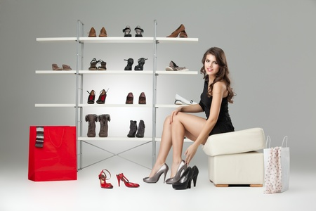 young woman black dress shoes stand high heels