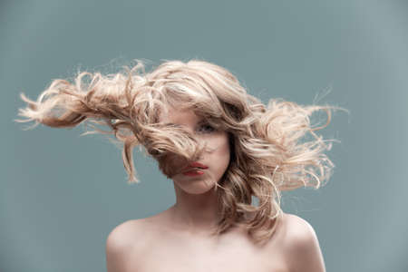 portrait curly blonde wind hair Stock Photo - 9490679