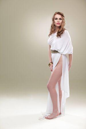 greece woman tall looking photo