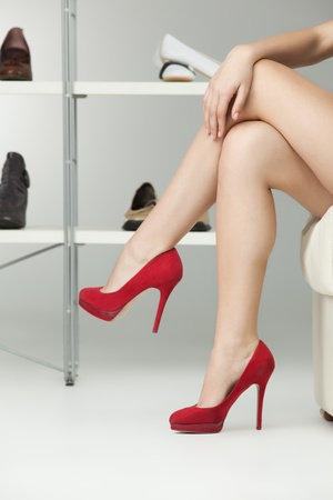 legs heels: long legs red high heels caucasian woman