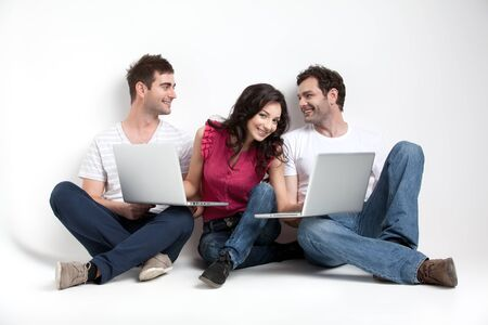 group of carfree friends with laptops Stock Photo - 9667691