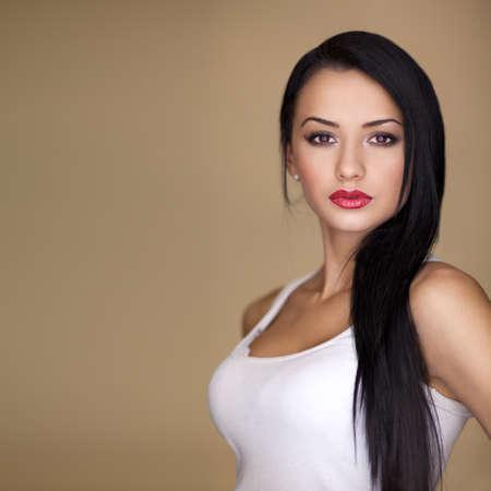 long hair brunette model posing beauty at camera Stock Photo - 9666769