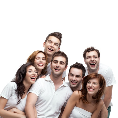 group young people sitting down laughing Stock Photo - 9667707