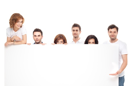 group of smiling friends advertising blanck banner Stock Photo - 9881629