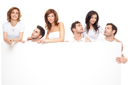 group of smiling friends advertising blanck banner Stock Photo - 9881690