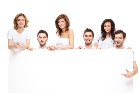 group of smiling friends advertising blanck banner  photo