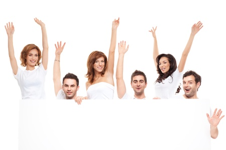 advertising woman: group of happy friends advertising blanck banner  Stock Photo