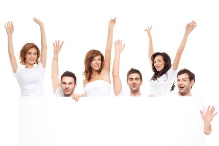 affichage publicitaire: groupe de banni�res publicitaires heureux amis Blanck Banque d'images