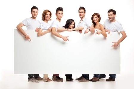 banner ads: team of pointing smiling people holding banner