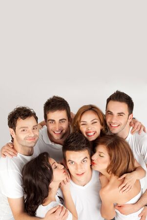 smiling having fun group of friends with copy space  photo
