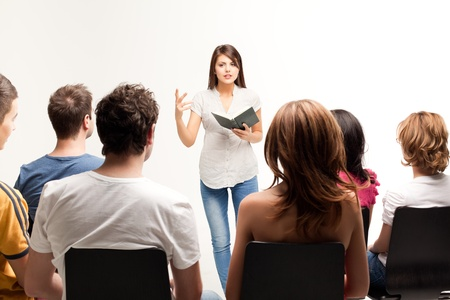 preacher: young pretty woman teaching a course