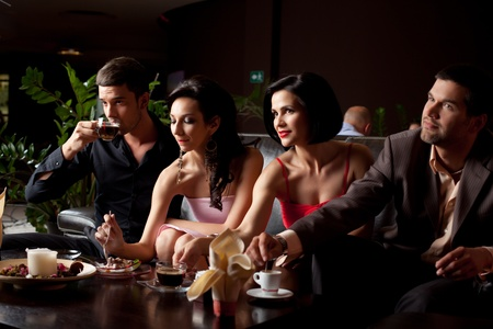 horizontal bar: romantic glamourous couples sitting at coffee and dessert