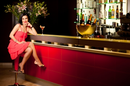 bar counter: beautiful woman red dress bar counter smile