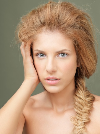 beauty portrait blonde woman braided hair photo