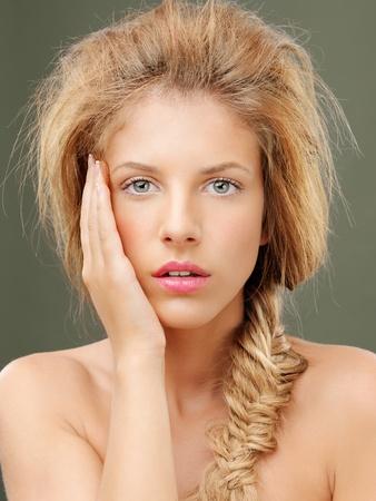 beauty portrait blonde woman braided hair photo