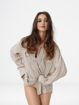 fashion portrait sexy woman wearing man's shirt Stock Photo - 10915207