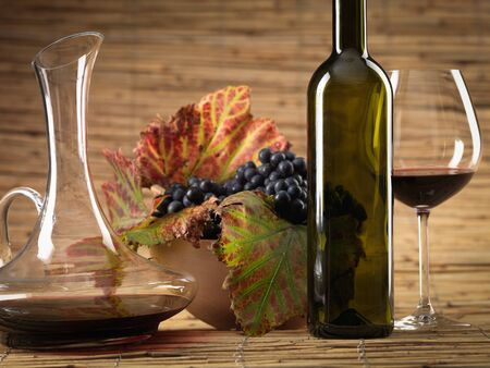 bottle of red wine, glass, pitcher and grapes on wicker background Stock Photo - 11057068