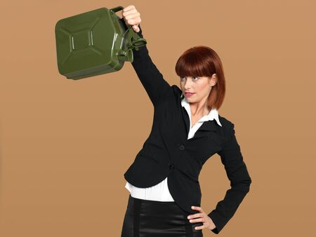 portrait of a young businesswoman, holding an empty gas canister, on beige background photo
