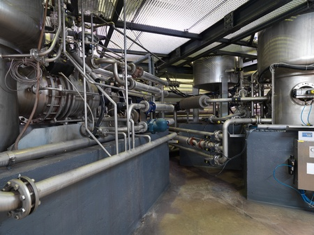 interior perspective of the heating pipe system in an industrial area photo