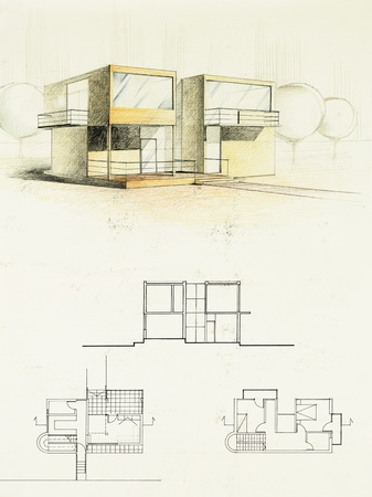 colored architectural blueprint of modern house, drawn by hand photo