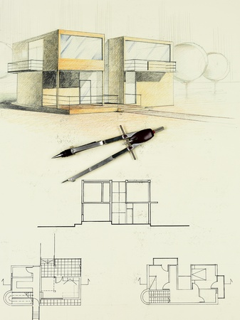 compasses: colored architectural blueprint of modern house, drawn by hand, with compasses
