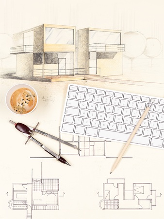 architectural blueprint of modern house, with computer keyboard, coffee cup, pencil and compasses photo