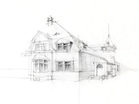 black and white architectural perspective of old house, drawn by hand photo