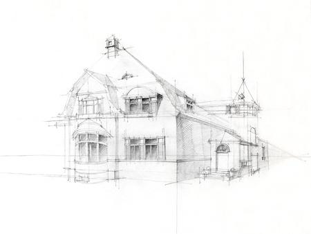 casa colonial: punto de vista arquitect�nico blanco y negro de la vieja casa, dibujado a mano