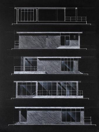 fachadas de casa: modelo de color arquitect�nico de fachadas de las casas modernas, dibujado a mano