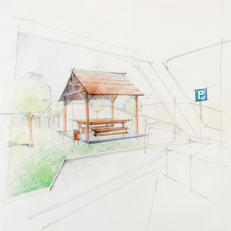 coloured pencil: colored architectural sketch of a car park rest place, drawn by hand