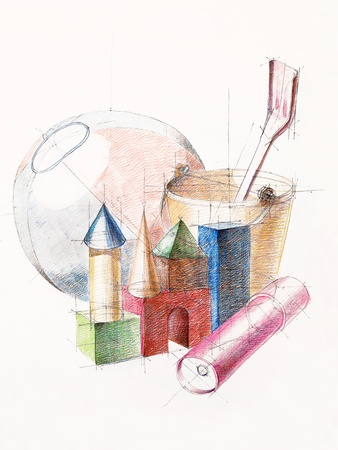 artistic study of object shapes composition, drawn by hand Stock Photo - 13342712