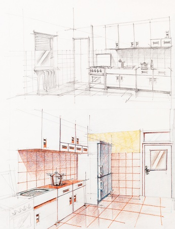 interior hand drawn perspetive of an apartment kitchen